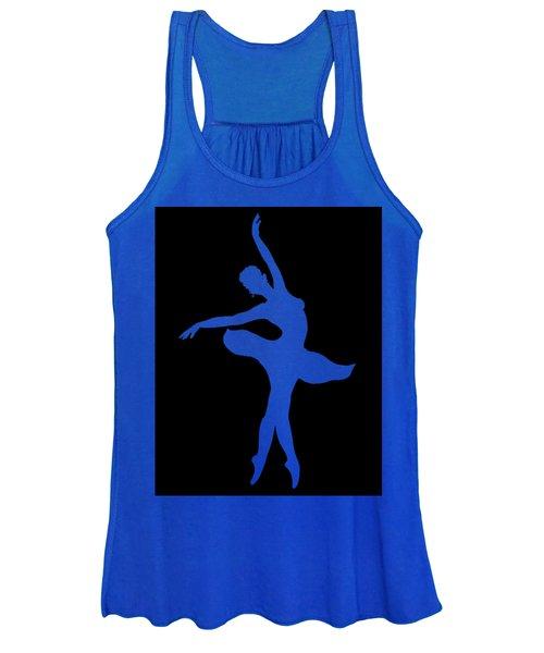 Dancing Ballerina White Silhouette Women's Tank Top