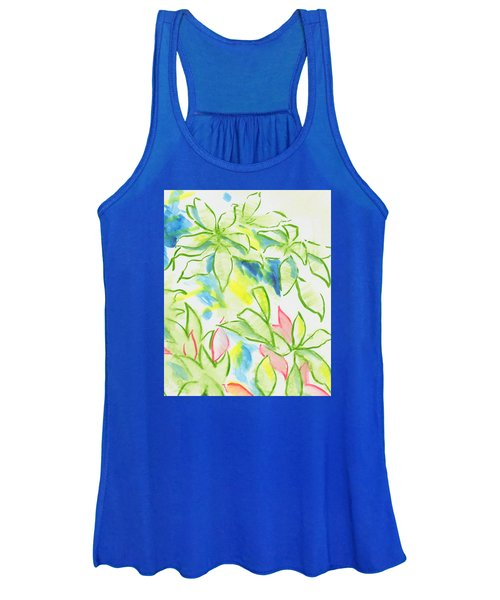 Different Coloured Hydrangea Leaves - Green Red Yellow Women's Tank Top