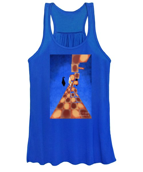 Disrupted Egg Path On Blue Women's Tank Top