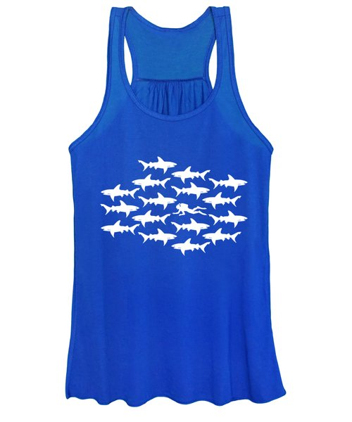 Diver Swimming With Sharks Women's Tank Top