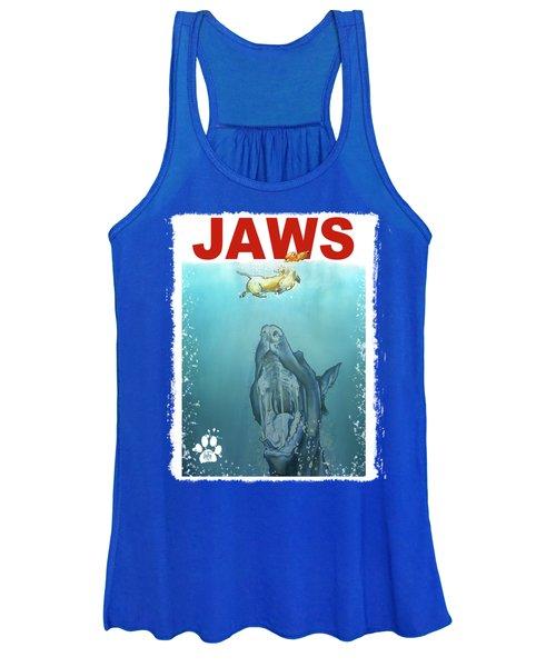 Dog-themed Jaws Caricature Art Print Women's Tank Top