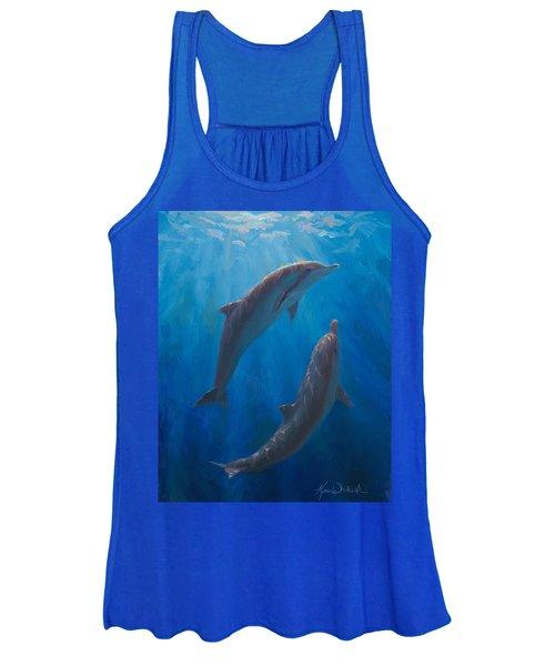 Dolphin Dance - Underwater Whales - Ocean Art - Coastal Decor Women's Tank Top