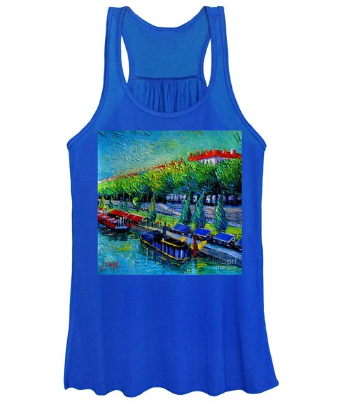 Festive Barges On The Rhone River Women's Tank Top