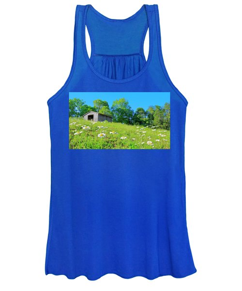 Flowering Hillside Meadow - View 2 Women's Tank Top