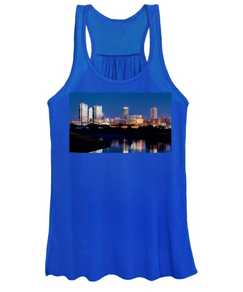 Fort Worth Skyline At Night Poster Women's Tank Top