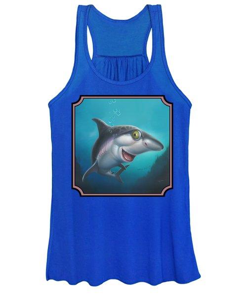 Friendly Shark Cartoony Cartoon - Under Sea - Square Format Women's Tank Top