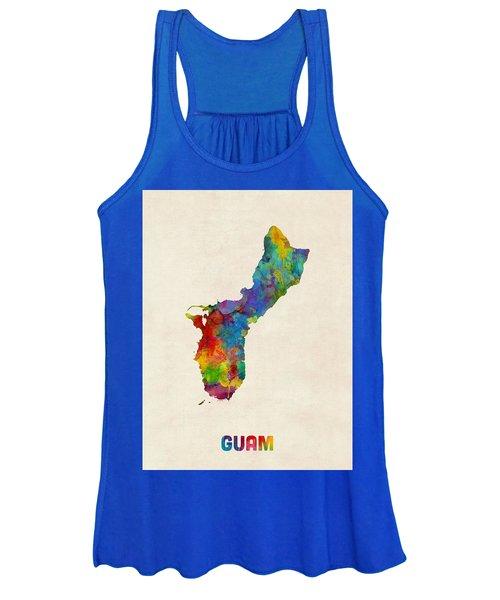Guam Watercolor Map Women's Tank Top