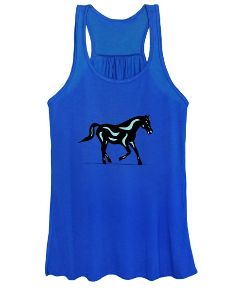 Heinrich - Pop Art Horse - Black, Island Paradise Blue, Greenery Women's Tank Top