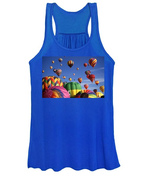 Beautiful Balloons On Blue Sky - Color Photo Women's Tank Top