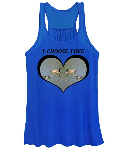 I Choose Love With A Spoonbill Duck And Geese On A Pond In A Heart Women's Tank Top