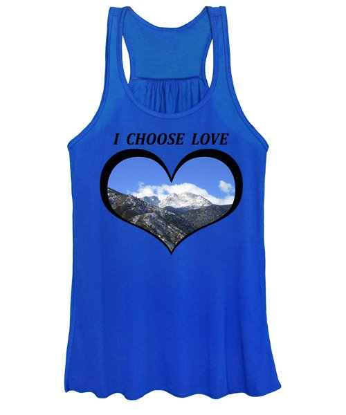 I Choose Love With Pikes Peak And Manitou Incline In A Heart Women's Tank Top