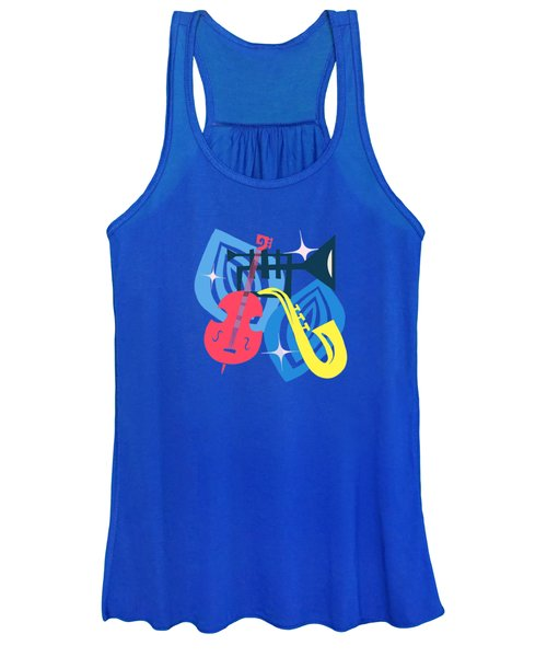 Jazz Composition With Bass, Saxophone And Trumpet Women's Tank Top