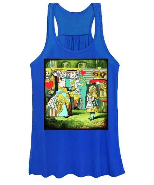 Lewis Carrolls Alice, Red Queen And Cards Women's Tank Top