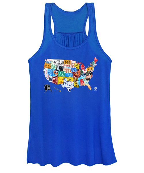 License Plate Map Of The Usa On Royal Blue Women's Tank Top