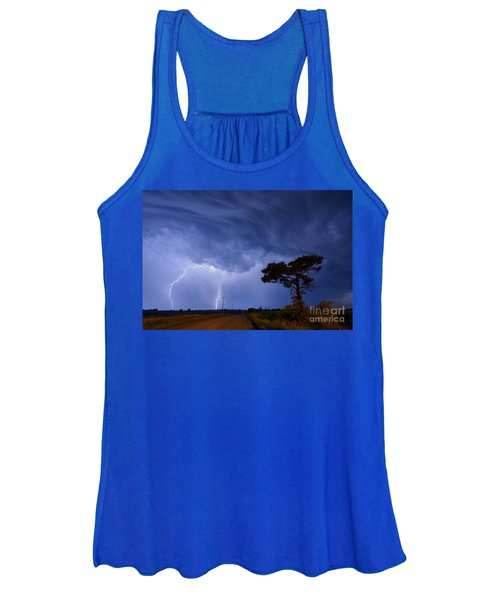 Lightning Storm On A Lonely Country Road Women's Tank Top