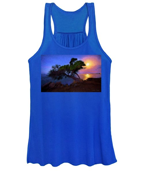 Lone Tree On Pacific Coast Highway At Moonset Women's Tank Top