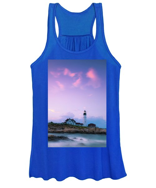 Maine Portland Headlight Lighthouse In Blue Hour Women's Tank Top