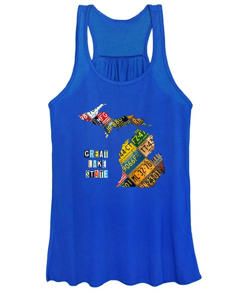 Michigan License Plate Map Great Lake State With Vintage Blue Plate Background Edition Women's Tank Top