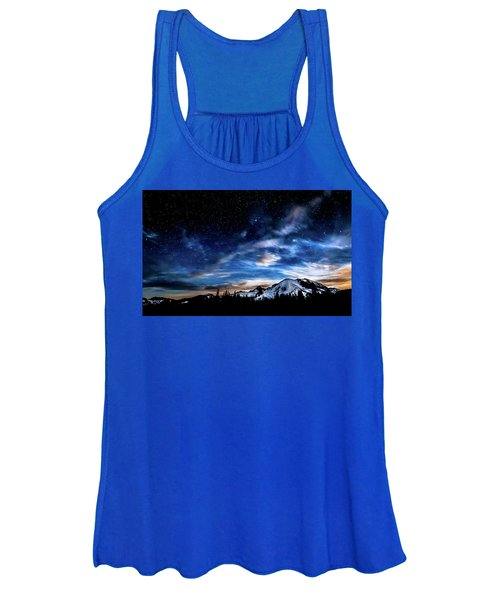 Moon Setting Behind Mt Rainier  Women's Tank Top