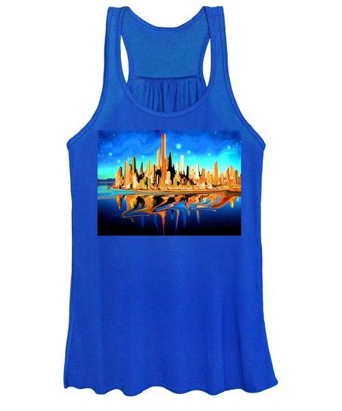 New York Skyline In Blue Orange - Modern Fantasy Art Women's Tank Top