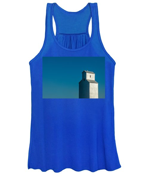 Old Grain Elevator Against Steel Blue Sky Women's Tank Top