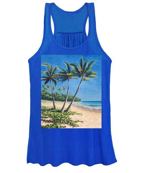 Tropical Paradise Landscape - Hawaii Beach And Palms Painting Women's Tank Top