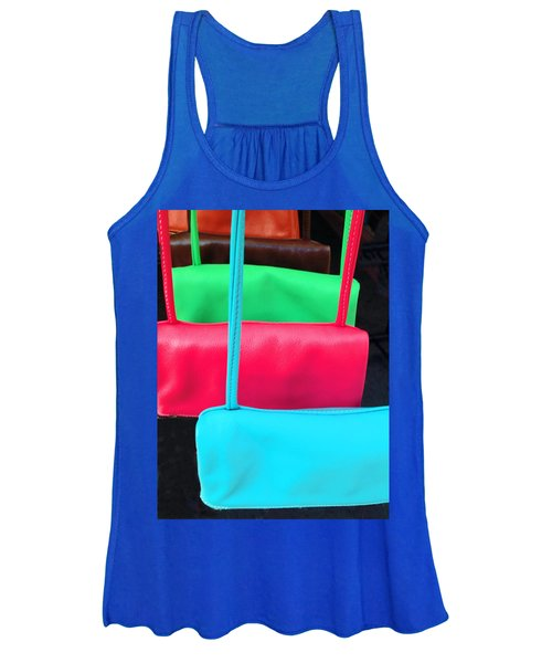 Women's Tank Top featuring the photograph Pastel Pocketbooks - Nyc Street Fair by Rick Locke