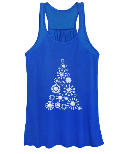 Pine Tree Snowflakes - Dark Blue Women's Tank Top