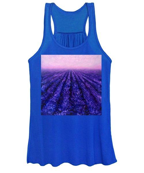 Abstract Lavender Field Landscape - Contemporary Landscape Painting - Amethyst Purple Color Block Women's Tank Top