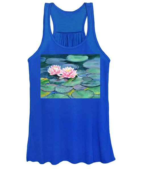 Pink Water Lilies With Colorful Pads Women's Tank Top