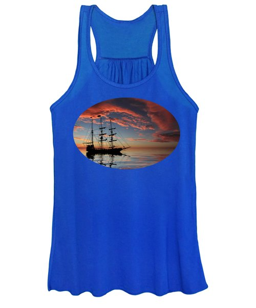 Women's Tank Top featuring the photograph Pirate Ship At Sunset by Shane Bechler