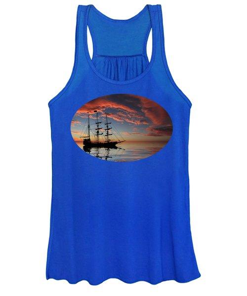 Pirate Ship At Sunset Women's Tank Top