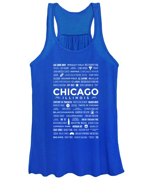 Places Of Chicago On Blue Chalkboard Women's Tank Top