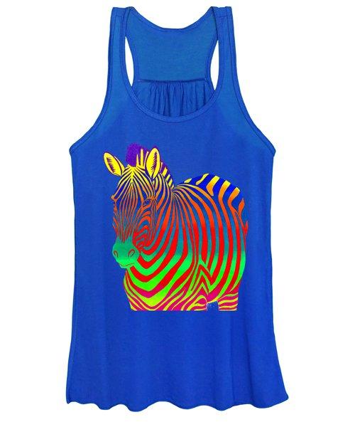 Psychedelic Rainbow Zebra Women's Tank Top