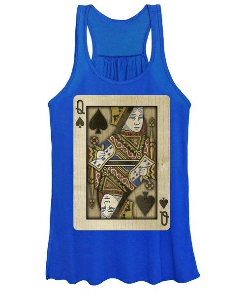 Queen Of Spades In Wood Women's Tank Top
