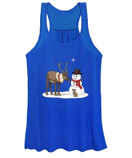 Santa Reindeer And Snowman Women's Tank Top