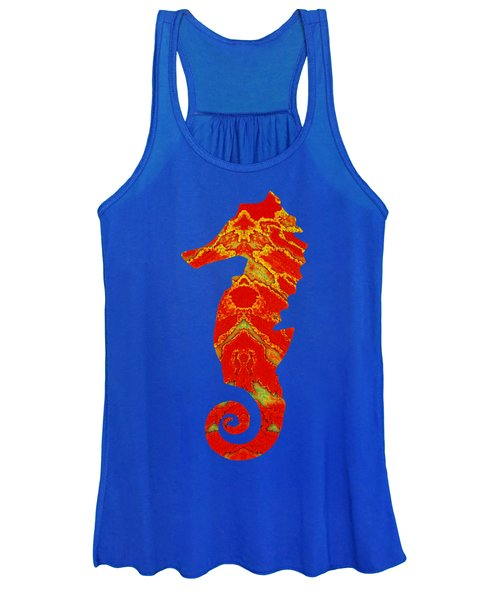 Seahorse Turquoise And Orange Left Facing Women's Tank Top
