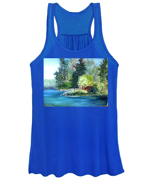 Secluded Boathouse-millsite Lake  Women's Tank Top