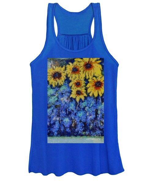 Six Sunflowers On Blue Women's Tank Top