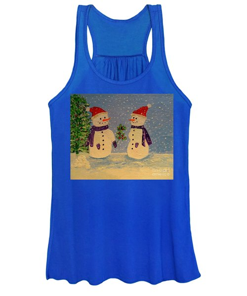 Snow-people At Christmas Women's Tank Top