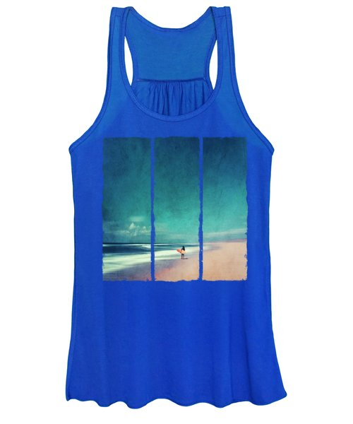 Summer Days - Abstract Seascape With Surfer Women's Tank Top