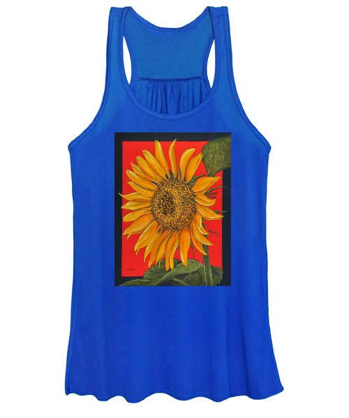 Da153 Sunflower On Red By Daniel Adams Women's Tank Top