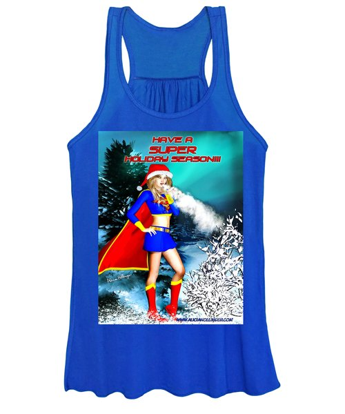 Supergirl Holiday Greeting Card Women's Tank Top