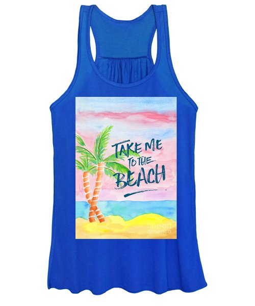 Take Me To The Beach Palm Trees Watercolor Painting Women's Tank Top
