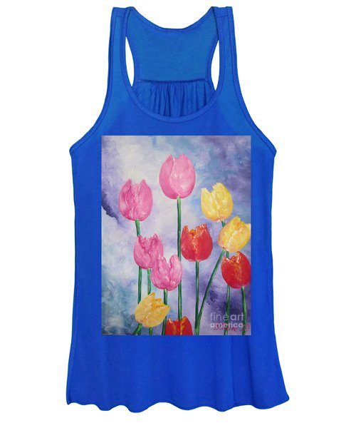 Ten  Simple  Tulips  Pink Red Yellow                                Flying Lamb Productions   Women's Tank Top