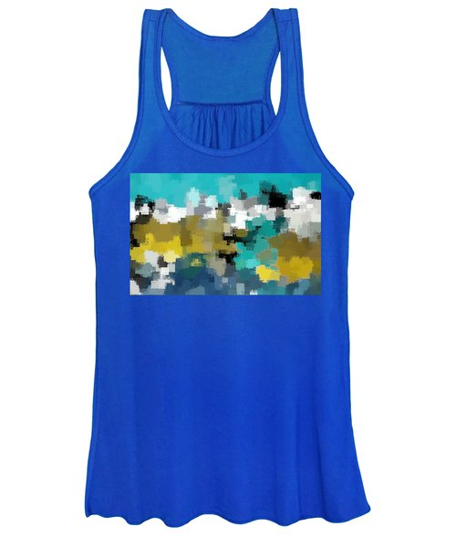 Turquoise And Gold Women's Tank Top