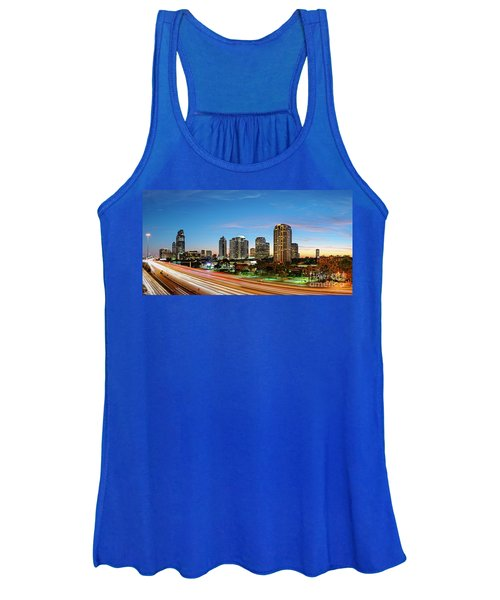 Twilight Panorama Of Uptown Houston Business District And Galleria Area Skyline Harris County Texas Women's Tank Top