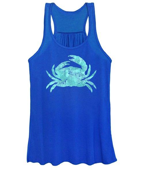 Vibrant Blue Crab Beach House Coastal Art Women's Tank Top