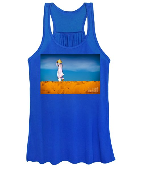 Vietnamese Woman In The Red Sand Dunes Mui Ne Vietnam Women's Tank Top