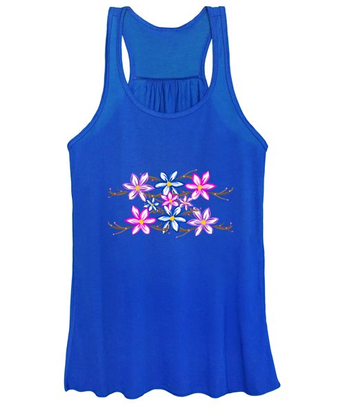 Violet Stripes With Flowers Women's Tank Top